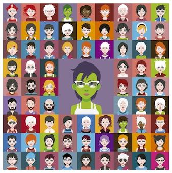 Grüne Zeichen Sammlung