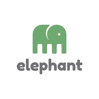 Grüner Elefantenlogo-Design