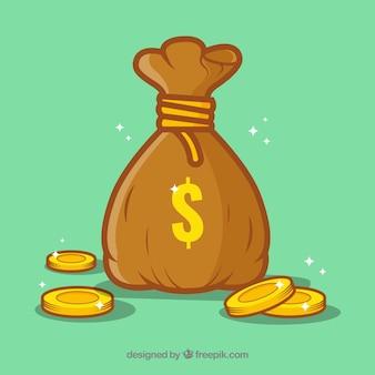 Grüner Hintergrund der Geld Tasche mit Münzen