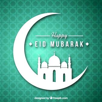 Grüner Hintergrund mit eid mubarak Mond