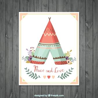 Grußkarte mit Zelt und Blumenschmuck