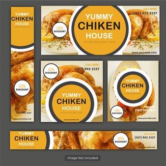 Hähnchen Lebensmittel Vintage Banner Set für Restaurant