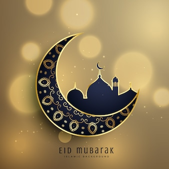 Halbmond und Moschee mit Blumendekoration für moslemisches Eid Festival