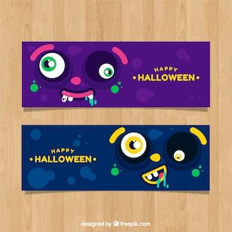 Halloween-Banner mit dem Gesicht des Monsters