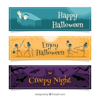 Halloween Banner mit Toten und Fledermäusen
