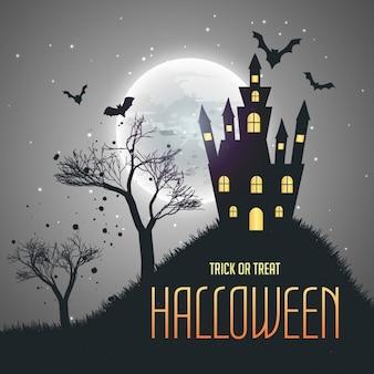 Halloween-Haus Nachthimmel Hintergrund mit Mond und Fledermäuse fliegen