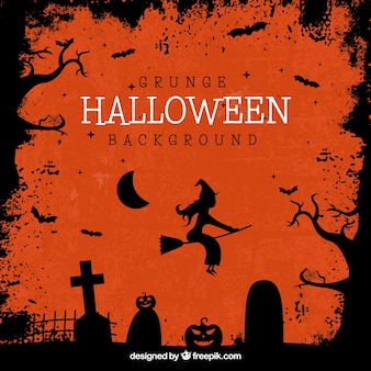 Halloween Hintergrund mit Silhouetten von Gräbern und Hexe fliegen