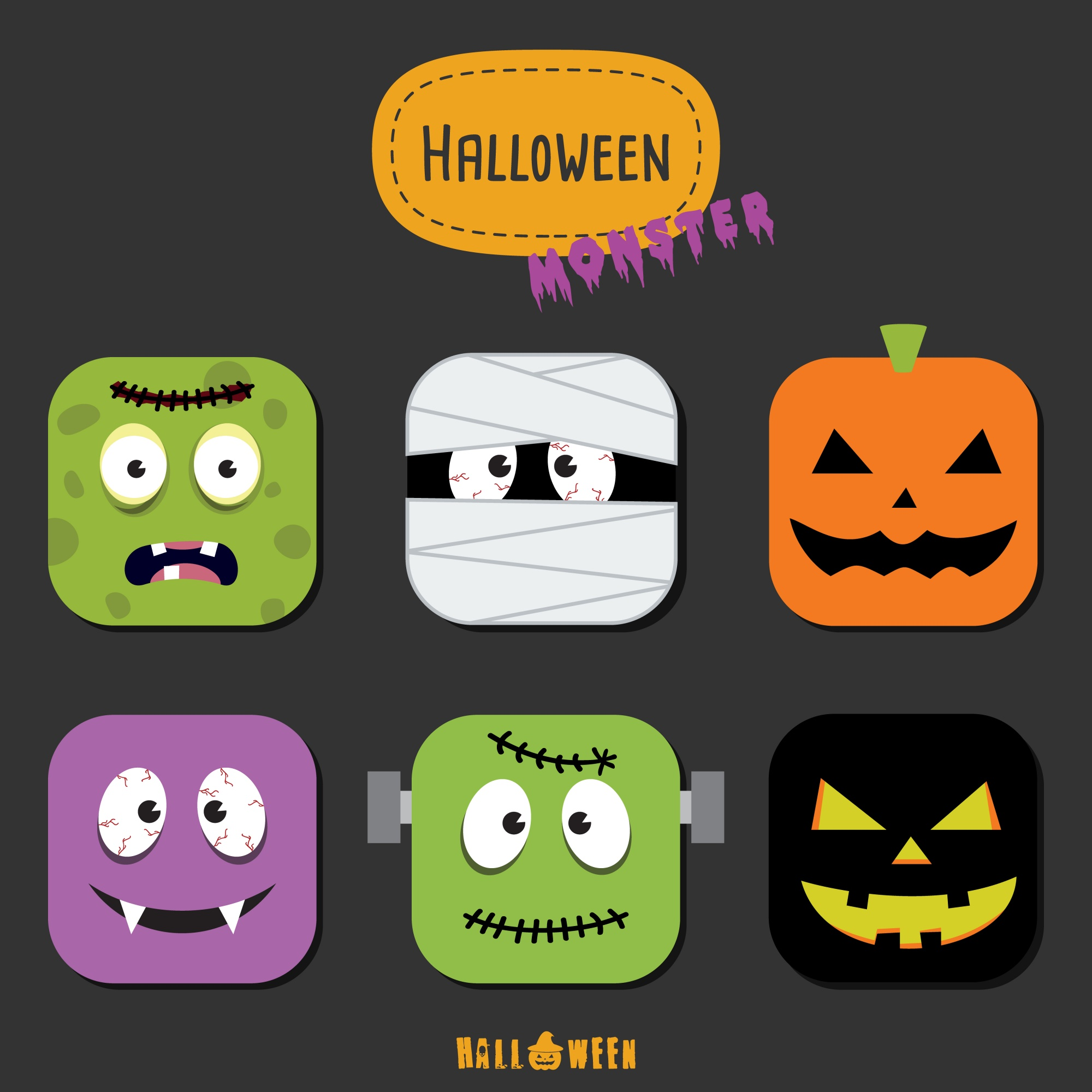 Halloween-Monster bunte Icon-Set flache Design Vektor-Illustration Halloween-Design-Vorlage für Grußkarte, Werbung, Poster, Flyer, Blog, Artikel, Social Media, Marketing.