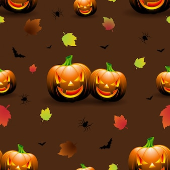 Halloween nahtlose Muster Illustration mit Kürbisse beängstigend Gesichter und Herbst Blätter auf dunklem Hintergrund.