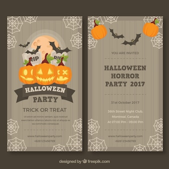 Halloween-Party-Flyer mit Vintage-Stil