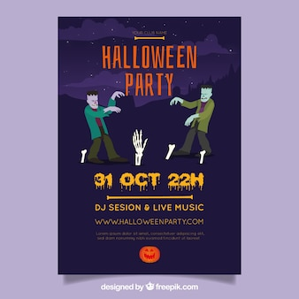 Halloween-Party-Flyer mit Zombies