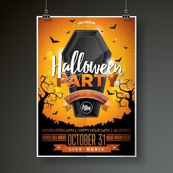 Halloween Party Flyer Vektor-Illustration mit schwarzem Sarg auf orange Himmel Hintergrund. Feiertagsentwurf mit Spinnen und Fledermäusen für Parteieinladung, Grußkarte, Fahne, Plakat.