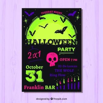 Halloween-Partyplakat mit Fledermäusen und Vollmond