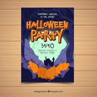 Halloween-Partyplakat mit Kürbissen