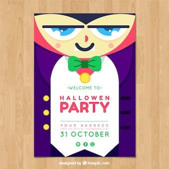 Halloween-Partyplakat mit Vampir im flachen Entwurf