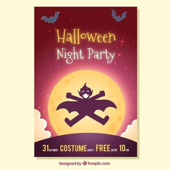 Halloween-Poster mit glücklichem Vampir