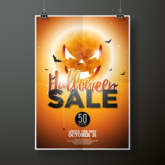 Halloween-Verkauf Vektor Poster Vorlage Illustration mit Mond und Fledermäuse auf orange Himmel Hintergrund. Design für Angebot, Gutschein, Banner, Gutschein oder Werbeplakat