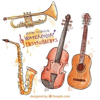 Hand bemalt Aquarell Instrumente