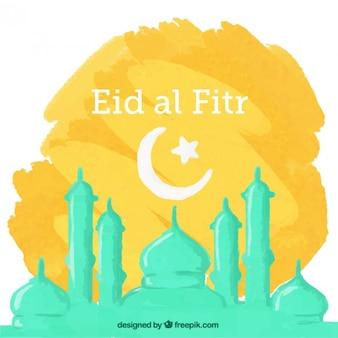 Hand bemalt eid al Fitr Hintergrund mit Moschee