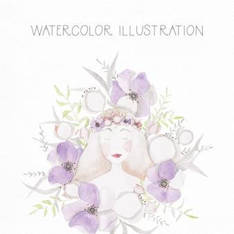 Hand gemalt Aquarell Illustration Mädchen mit Blumen