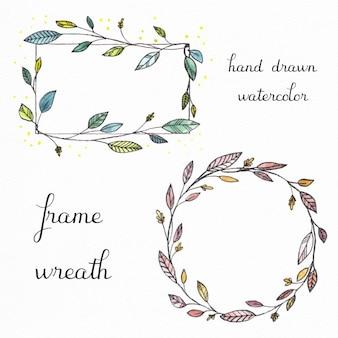Hand gezeichnet Aquarell Rahmen und Kränze