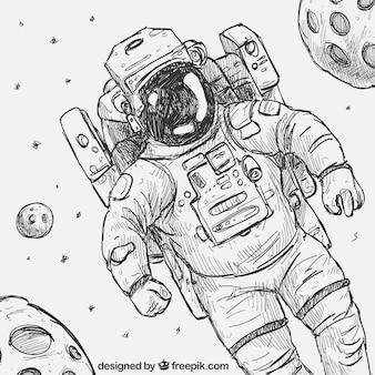 Hand gezeichnet Astronaut