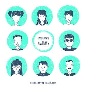 Hand gezeichnet avatar Sammlung