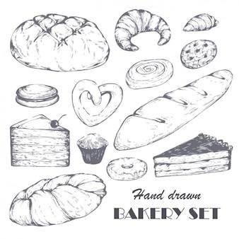 Hand gezeichnet Bäckerei-Set