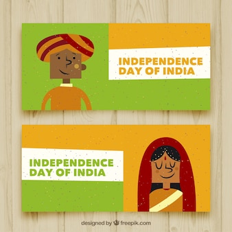 Hand gezeichnet Banner für den Tag der Unabhängigkeit von Indien