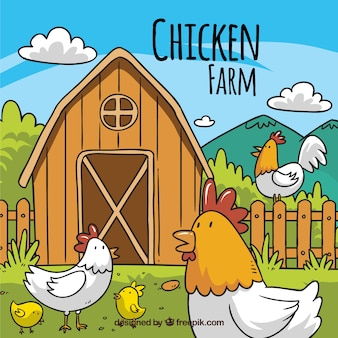 Hand gezeichnet Bauernhof Hintergrund