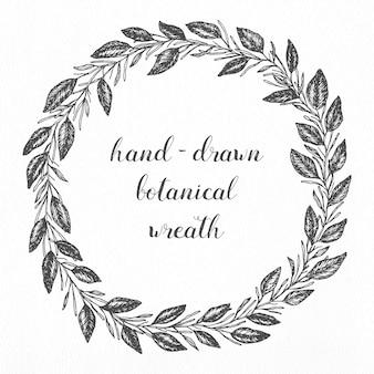 Hand gezeichnet botanischer Kranz für Hochzeit Designs