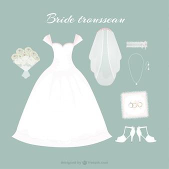 Hand gezeichnet Brautkleides mit niedlichen Accessoires