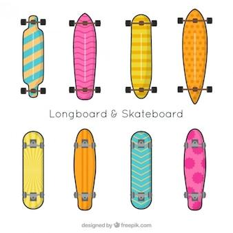 Hand gezeichnet bunten Skateboard-Kollektion