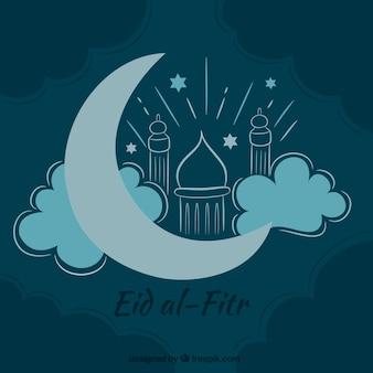 Hand gezeichnet eid al-fitr Hintergrund