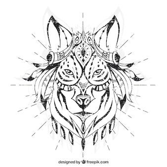 Hand gezeichnet ethnischen Wolf