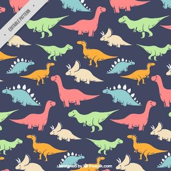 Hand gezeichnet farbige Art von Dinosauriern Muster
