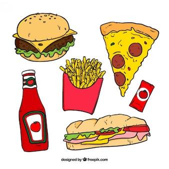 Hand gezeichnet farbige Fast-Food