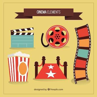 Hand gezeichnet farbige Kino Objekte