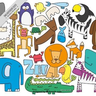 Hand gezeichnet farbige nette Tiere Hintergrund