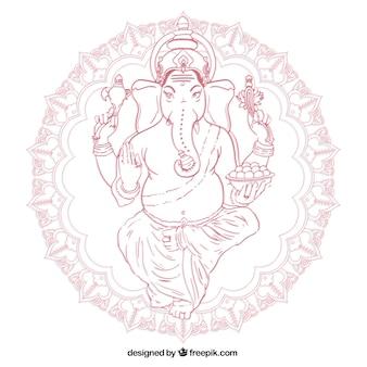 Hand gezeichnet ganesha