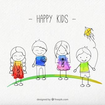 Hand gezeichnet glückliche Kinder packen