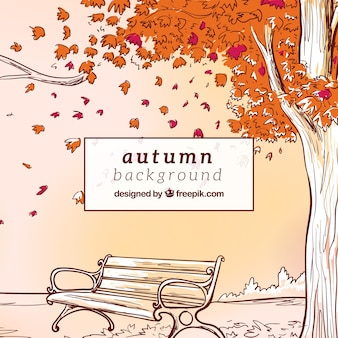 Hand gezeichnet Herbst Hintergrund mit Bank ein Baum