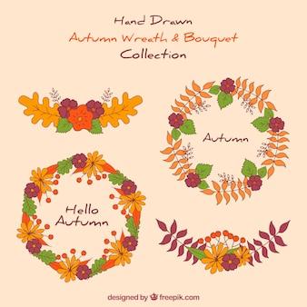 Hand gezeichnet Herbst Kranz Sammlung