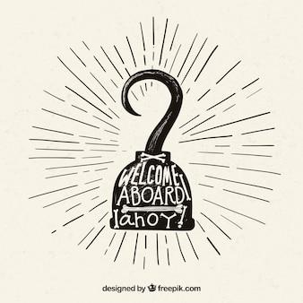 Hand gezeichnet Hintergrund der Haken mit Piraten Nachricht