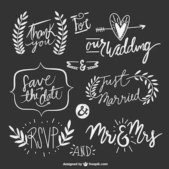 Hand gezeichnet Hochzeit Texte mit Ornamenten