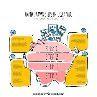 Hand gezeichnet Infografik mit Sparschwein