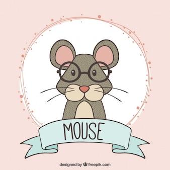 Hand gezeichnet intellektuelle Maus mit Brille