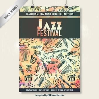 Hand gezeichnet Jazz-Festival Plakat