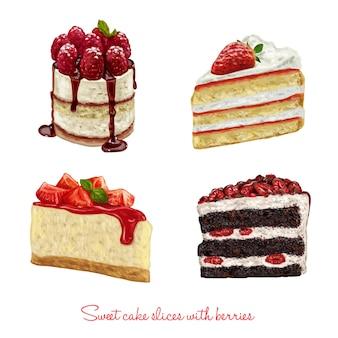 Hand gezeichnet leckere Kuchen Scheiben gesetzt