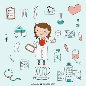 Hand gezeichnet medizinische Vektoren